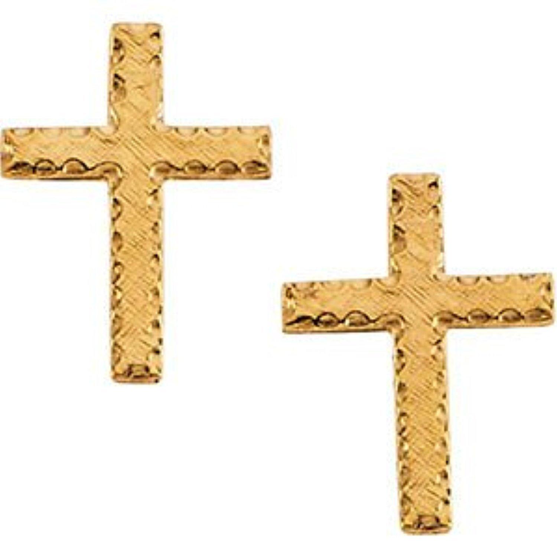 Girl's Latin Cross Earrings, 14k Yellow Gold (13x9MM)