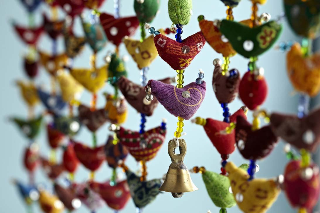 Amazon.com: Paper High 30Bird Bell Tota Traditional Indian Hanging ... for Indian Hanging Decorations  156eri