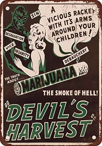 1942 Marijuana Devil's Harvest Vintage Look Reproduction Novelty Metal Sign for Home Decor Tin Sign for Man Women Cave
