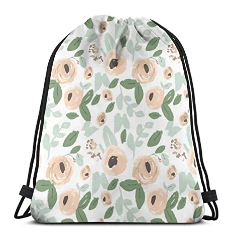 vintage cap Nude, Peach and Green Watercolor Flowers_5629 3D Print Drawstring Backpack Rucksack Shoulder Bags Gym Bag for Adu