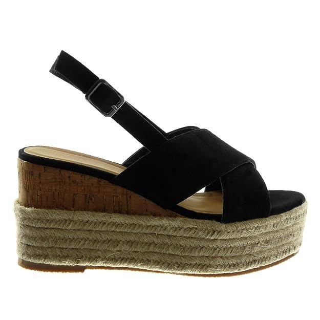 d0cc156dbc0882 Angkorly Chaussure Mode Sandale Mule Lanière Cheville Plateforme Femme Corde  Tréssé Lanière Talon Compensé Plateforme 9.5 cm  Amazon.fr  Chaussures et  Sacs