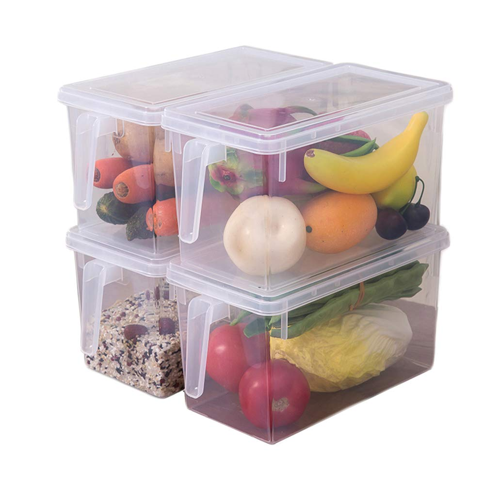 PENGKE Plastic Food Storage Container,with Lid and Handle,Food Storage Organizer Box Fresh Box for Kitchen Refridgerator Fridge Desk Cabinet Food Storage,Holds Furit Eggs Vegetables,Pack of 4