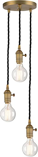Phansthy 3 Lights Simplicity Chandelier Light Antique Finished ON Off 3 Light Pendant Lighting
