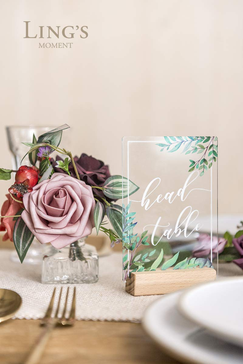 Ling's moment Clear Acrylic Wedding Table Numbers 1-30 with Wood Bases Greenery Calligraphy 4x6 by Ling's moment