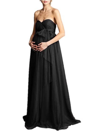 Promworld Evening Dresses for Pregnant Women Tulle Bridesmaid Prom Maternity Dress Black US2