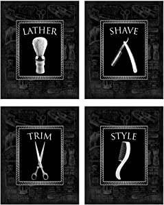 Black-on-Black Vintage Barbershop Theme! Lather, Shave, Trim, Style! Four Stylish 8x10 Mens Wall Decor Art Prints Set Great for Bathroom, Barbershop, Bachelor Pad Designed Exclusively for Wallables!
