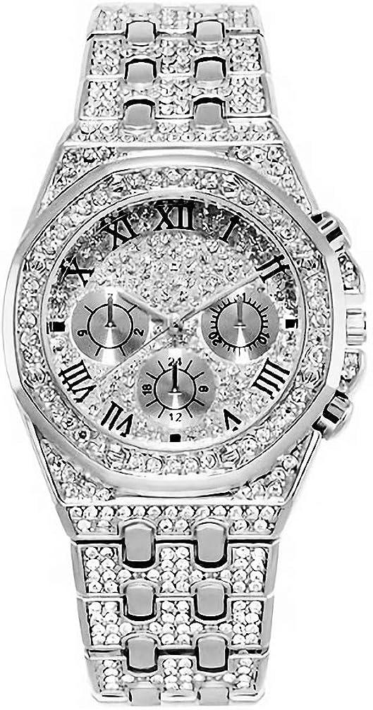 Souljewelry Reloj de Cuarzo para Hombre Estilo Hip Hop Bling Bling Pulsera Unisex de Acero Inoxidable con Circonitas Cúbicas Decorada Completa Diamantes