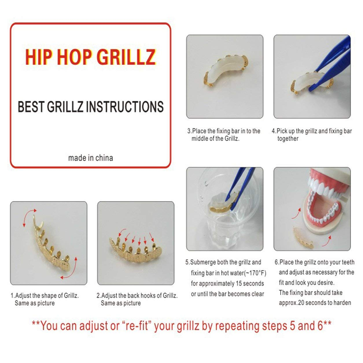 6 Placcatura dei denti Grillz lucidi Placca Rame Denti Hip Hop Denti superiori e inferiori Denti Grill per Natale Halloween-Argento-1 Taglia