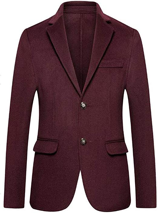 Mens Slim Fit Blazer Casual One Button Flap Pockets Business Solid Sport Suits Jacket Color : Red, Size : XXL