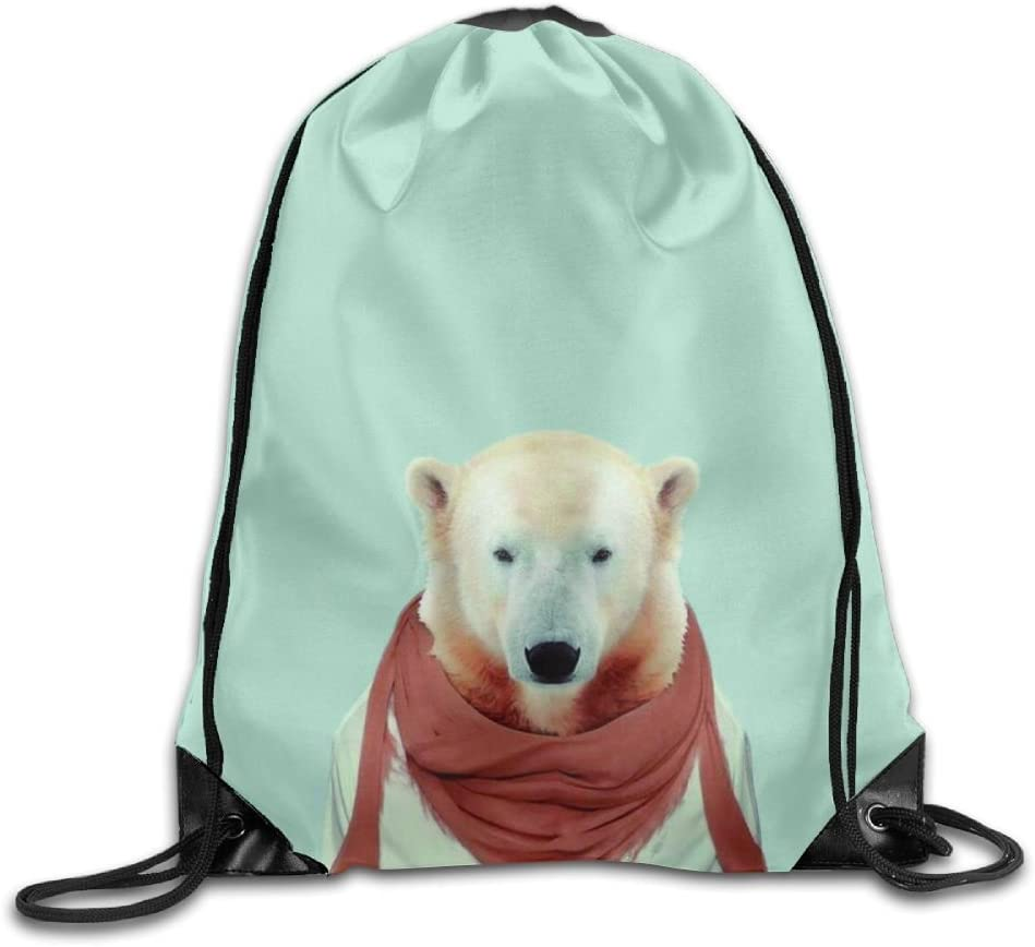 Mr.Polar Bear Drawstring Backpack Rucksack Shoulder Bags Training Gym Sack For Man And Women