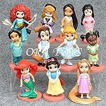 11 pcs/set Fantasy World Moana Princess Snow White Mermaid Ariel Belle Rapunzel Aurora Alice Action Figure Toy JL070 Girls Gift