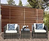 PATIOROMA 3 Piece Outdoor PE Wicker Rattan Furniture Set with Cream White Cushions, Steel Frame,Gray (3 piece- glass top table)