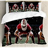 Lunarable Boy's Room Duvet Cover Set Queen Size, Sports Team Players on Scrimmage Line Stadium Arena Tackle Touchdown, Decorative 3 Piece Bedding Set with 2 Pillow Shams, Red White Olive Green