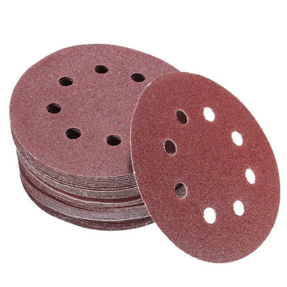 100pcs Polishing Paper 8 Holes 5'' Round Sandpaper Discs Fine Sanding Sheet 60/80/100/120/240 Grit