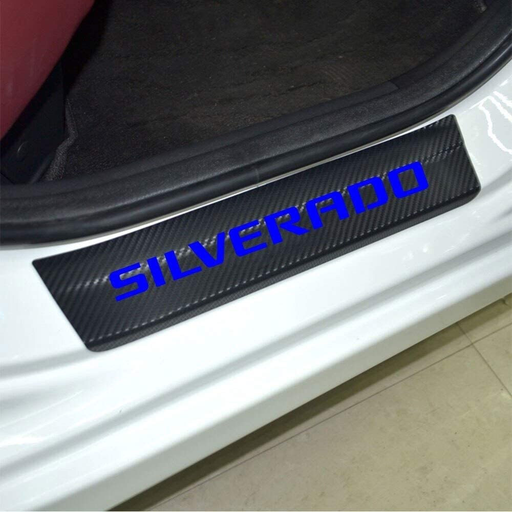 blue Car Entry Guard Sticker for Chevrolet Silverado Decoration Scuff Plate Carbon Fibre Vinyl Sticker Car Styling Accessories