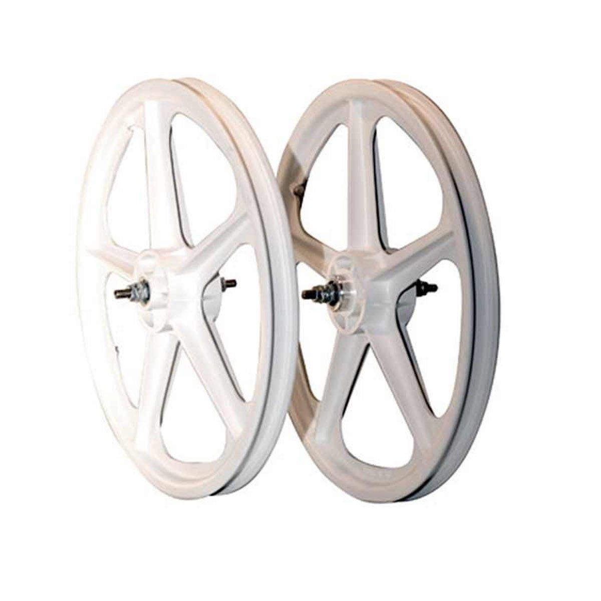 Skyway Tuff Ii 5 Spoke Mag 3/8 Nutted 20 X 1.75 Freewheel White Wheel Set