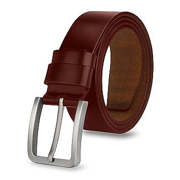 4f777eb34115c3 MPTECK @ 110CM Herren Gürtel Leder Braun Ledergürtel Gürtel für Herren  verstellbarer mit Edel Dornschließe Geschäft