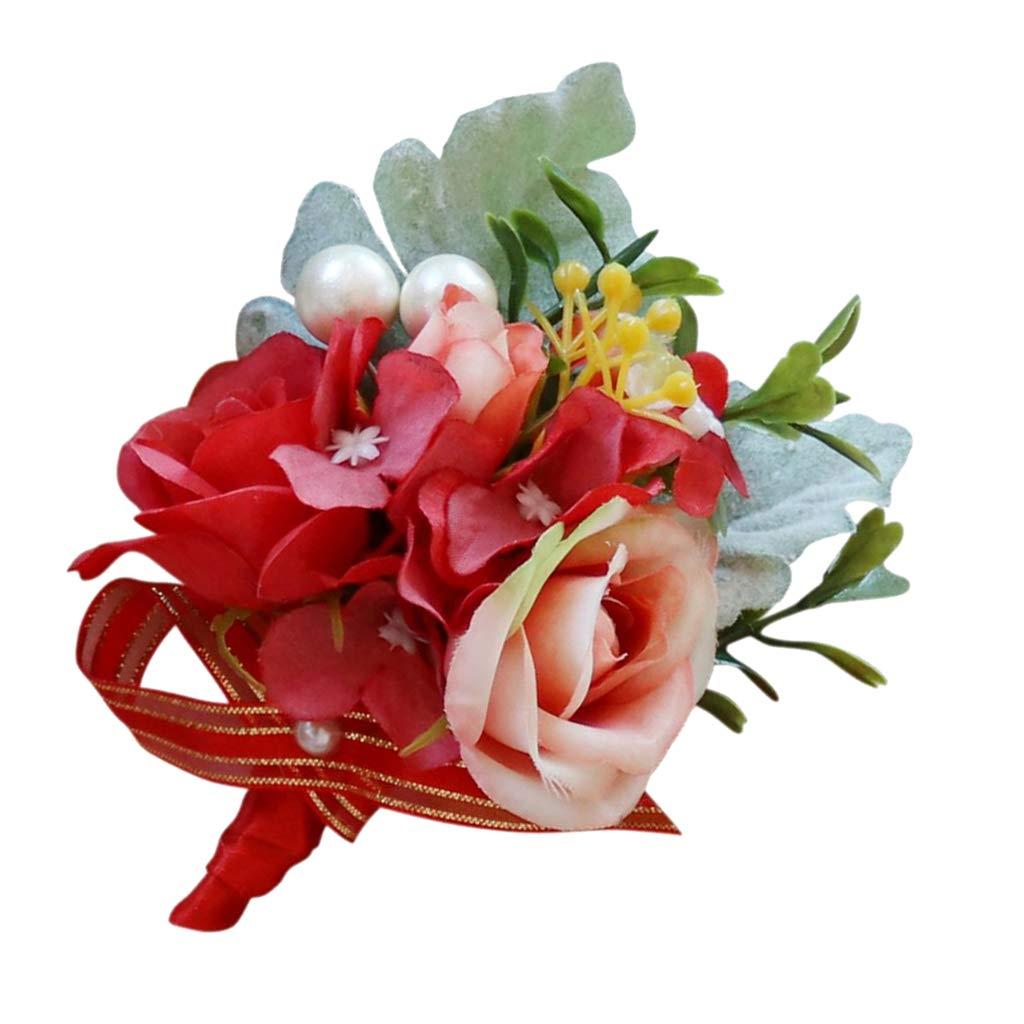 SM SunniMix ハンドメイド シルクコサージュ ブートニエール 新郎新郎 新郎付き添い人 結婚式 花 プロム パーティー 記念品 レッド ab4242969d86227a53c0966f3128f6a8 B07GPTV52K レッド