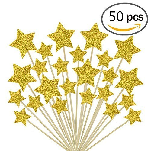 Jelacy 50 Pcs Gold Star Cupcake Toppers,Star Cupcake Toppers Twinkle Twinkle Little Star Decorations Birthday Cupcake Toppers Glitter Gold Cupcake Toppers for Party Cake Decorations -