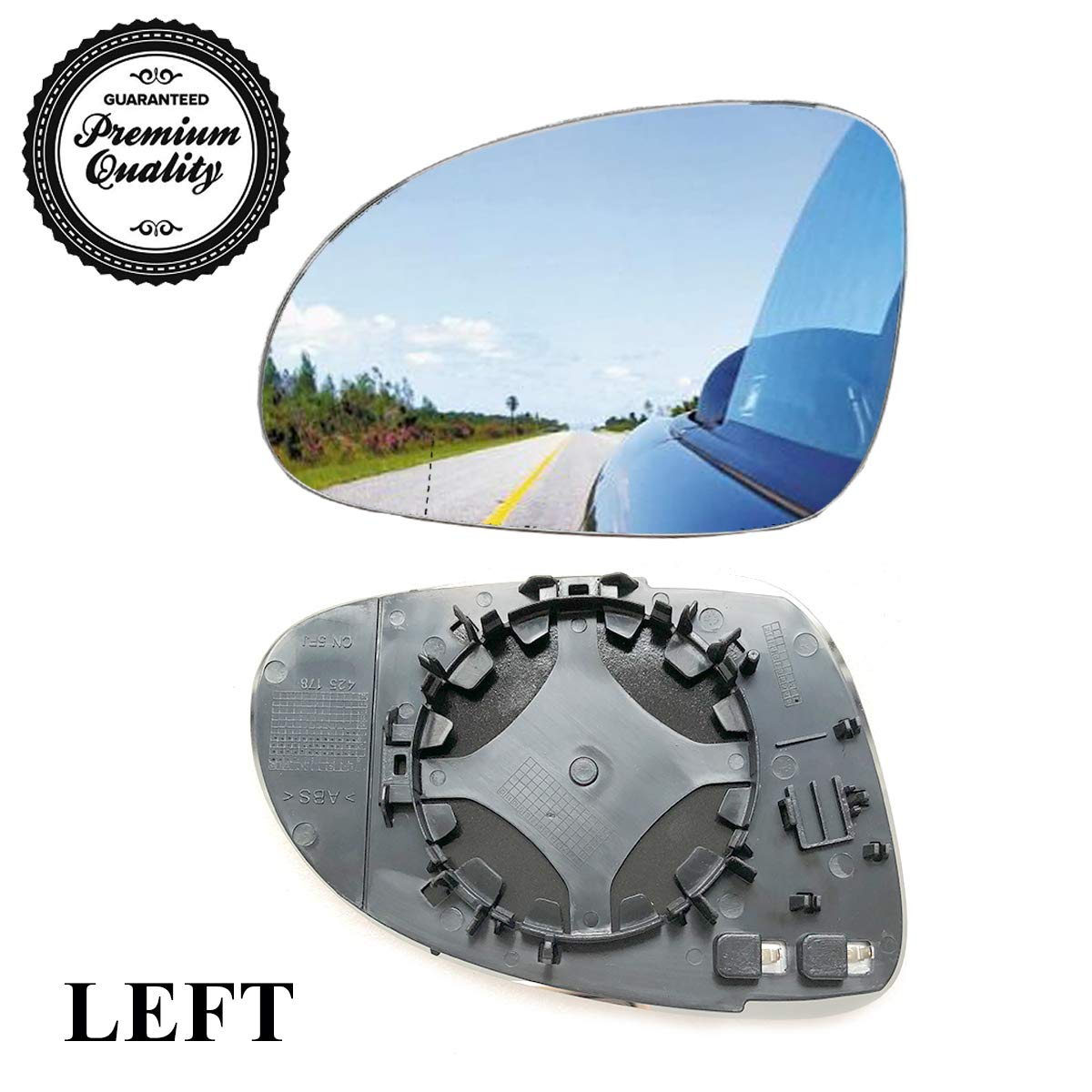 Car Mirror Replacement Glass,Heater and Black Plate Attached for VW Eos, GTI, Jetta, Passat, R32,L&R Jiuzhen Auto Parts