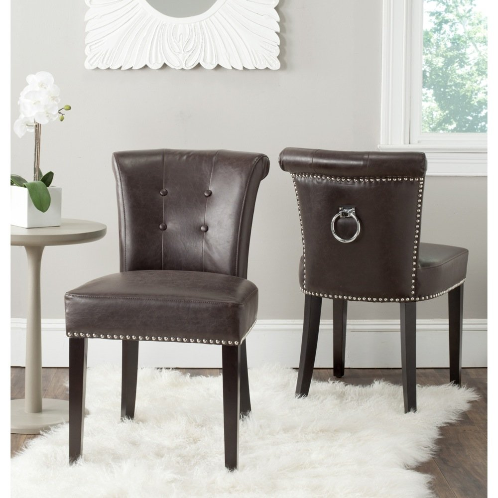 Amazon.com - Safavieh Mercer Collection Sinclair Antique Brown Leather Ring Dining  Chair (Set of 2) - Chairs - Amazon.com - Safavieh Mercer Collection Sinclair Antique Brown