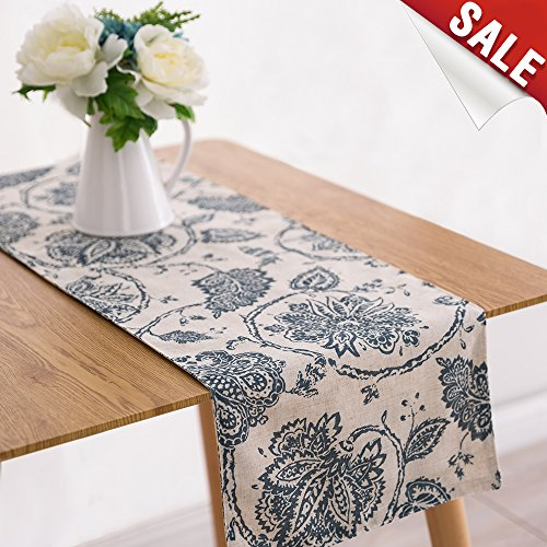 Paisley Table Runner - Table Runner Linen Textured 13 x 72 inch Scroll Patten Triangular Decorative Burlap Tablecovers Rustic Floral Design Handcrafted Flax Tablecloths, Teal…