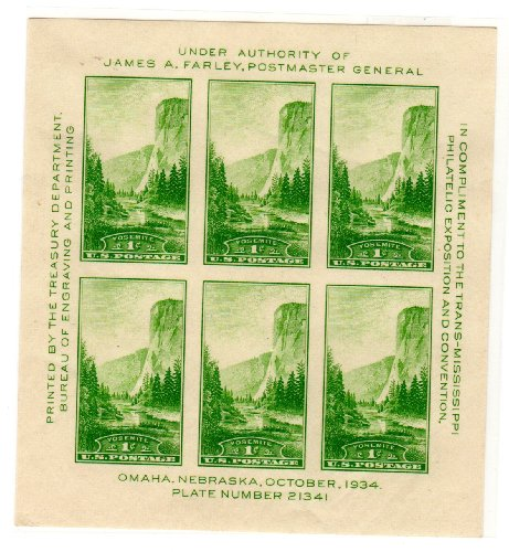 (Postage Stamps United States. Souvenier Sheet, Imperforate, of Six 1 Cent El Capitan, Yosemite (California), Trans-Mississippi Philatelic Exposition Issue Stamps, Plate Block # 21341, Dated 1934, Scott)