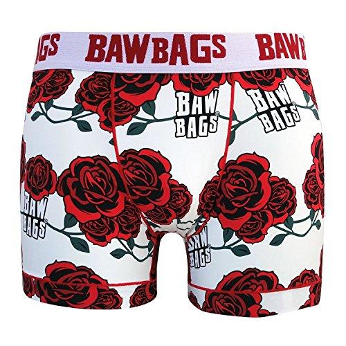 Bawbags Cool De Sac Rose Boxer Shorts - White -Large