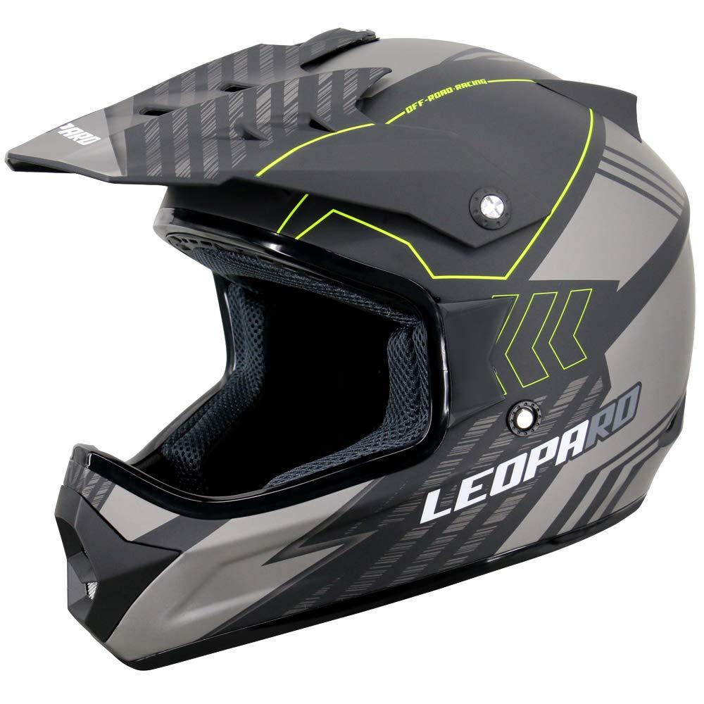 57-58cm MX Quad ATV Sports Enduro Crash Helmet ECE 22.05 Certified Leopard LEO-X307 Motocross HELMET /& Motorcycle Gloves Matt Black M