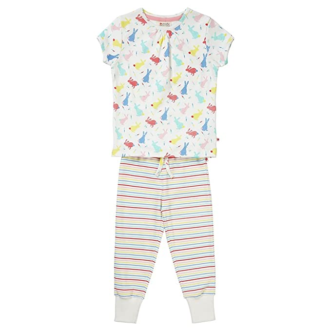 Piccalilly pijama largo, jersey de algodón orgánico, niña, conejos