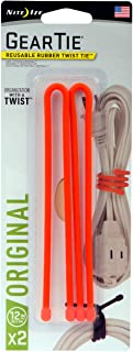 "product image for Nite Ize GT12-2PK-31 Original Gear Twist Tie, 12"" - 2-Pack, Bright Orange"