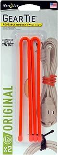 "product image for Nite Ize GT12-2PK-31 Original Gear Twist Tie, 12"" - 2-Pack, Bright Orange"