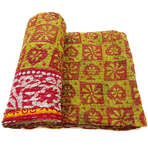 Vintage Kantha Quilt Handmade Indian Cotton Couch Cover Blanket Bedding Throw