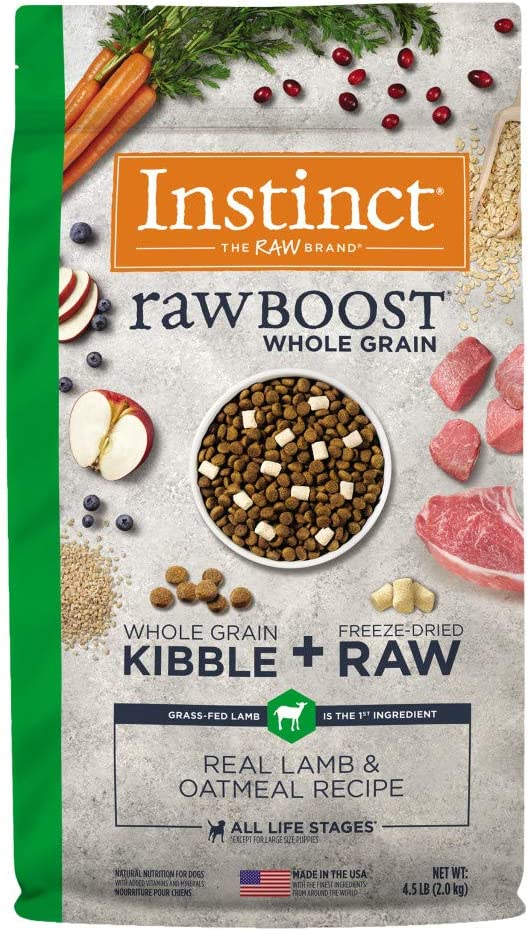 Instinct Raw Boost Whole Grain Real Lamb & Oatmeal Recipe Natural Dry Dog Food by Nature's Variety, 4.5 lb. Bag