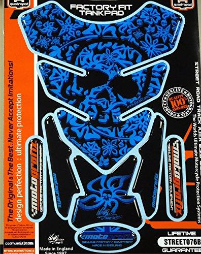 (Kawasaki Ninja Honda CBR Suzuki GSXR Yamaha YZF Hyosung Flower Skull Blue Motorcycle Tank Pad tankpad)