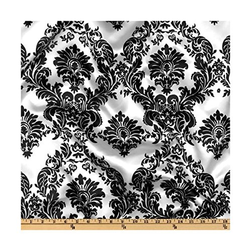 Charmeuse Satin Damask Print Fabric By the Yard, 58-Inch Wide, Black On -