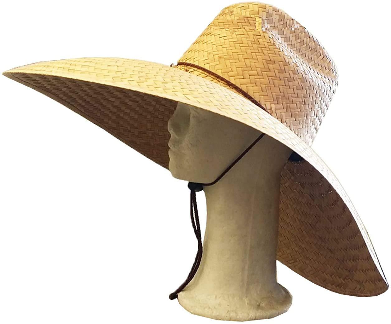 "Koopa Big Size Straw HAT with Chin String FORFARMING Fishing Beach Wide Brim 7.5"""