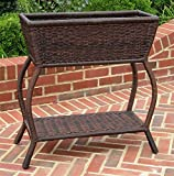 Wicker Resin/ Steel 2-Tier Outdoor Plant Stand in Antique Pecan