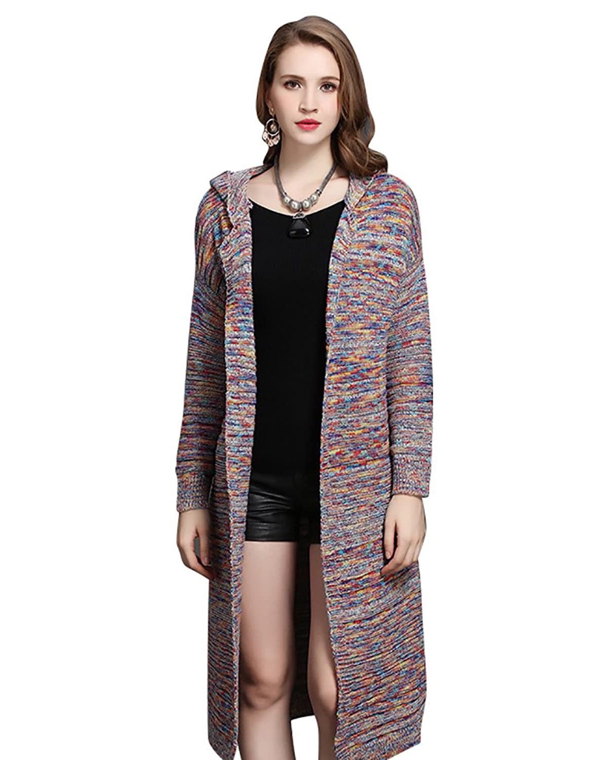 CHENGYANG Womens Winter Cardigan Open Front Long Jumper with Hooded Warm Sweater