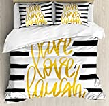 Ambesonne Live Laugh Love Duvet Cover Set Queen Size, Romantic Design with Hand Drawn Stripes and Calligraphic Text, Decorative 3 Piece Bedding Set with 2 Pillow Shams, Black White Earth Yellow
