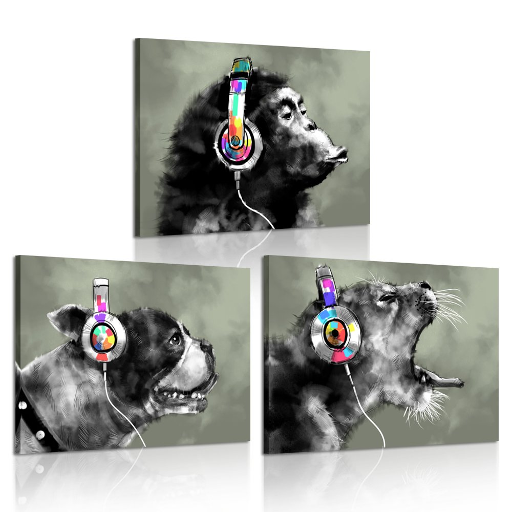 iKNOW FOTO - 3 Piece Modern Gorilla Monkey Music Canvas Art Wall Painting Abstract Animal Happy Dog and Leopard Decor Artwork Picture Home Decoration 12x16inchx3pcs