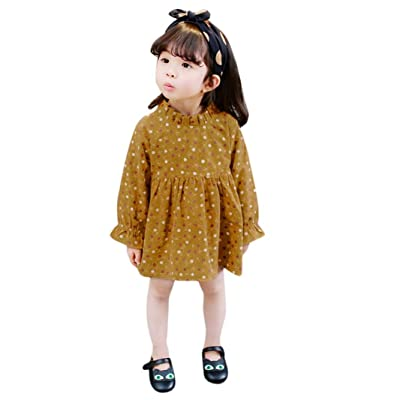 Sunbona Toddler Baby Girls Floral Long Sleeve Ruffles Dress Spring Summer Princess Casual Party Outfit Clothes