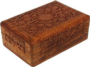 Wooden Jewelry Box for Women | Modern Floral Design | Keepsake Box Organizer | Handmade Wood Trinket Treasure Memory Box for Rings Necklace Bracelets Watches Earrings | Home Living Room Decor