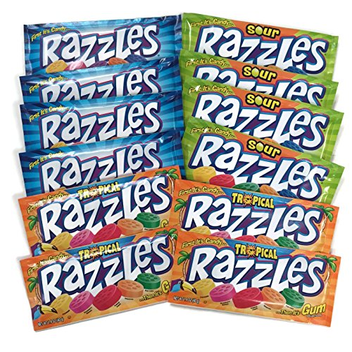 Razzles Gum Candies 12-pack Variety, 1.4 oz. Packages [4 of each (Razzles Sour Candy)