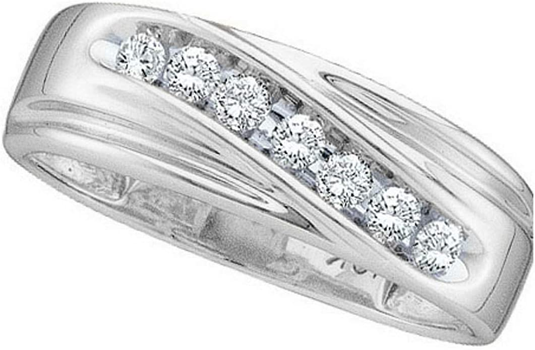 Jewels By Lux Sterling Silver Mens Round Diamond Wedding Band Ring 1//4 Cttw Ring Size 8.5