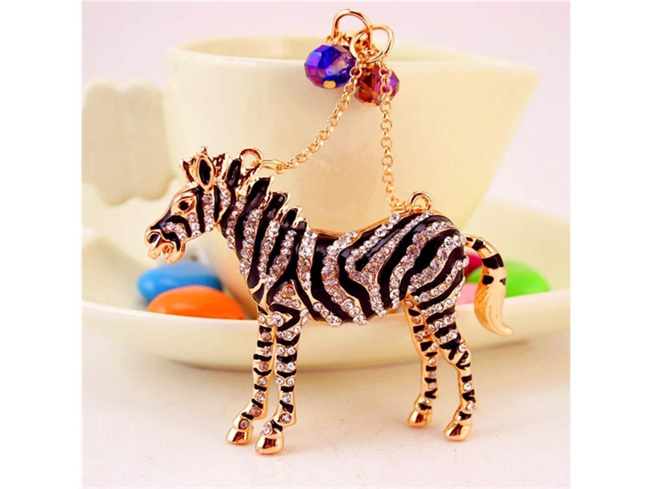 Car Keychain, Cute Exquisite Zebra Keychain Animal Key Trinket Car Bag Key Holder Decorations(Black) for Gift by Huasen (Image #4)
