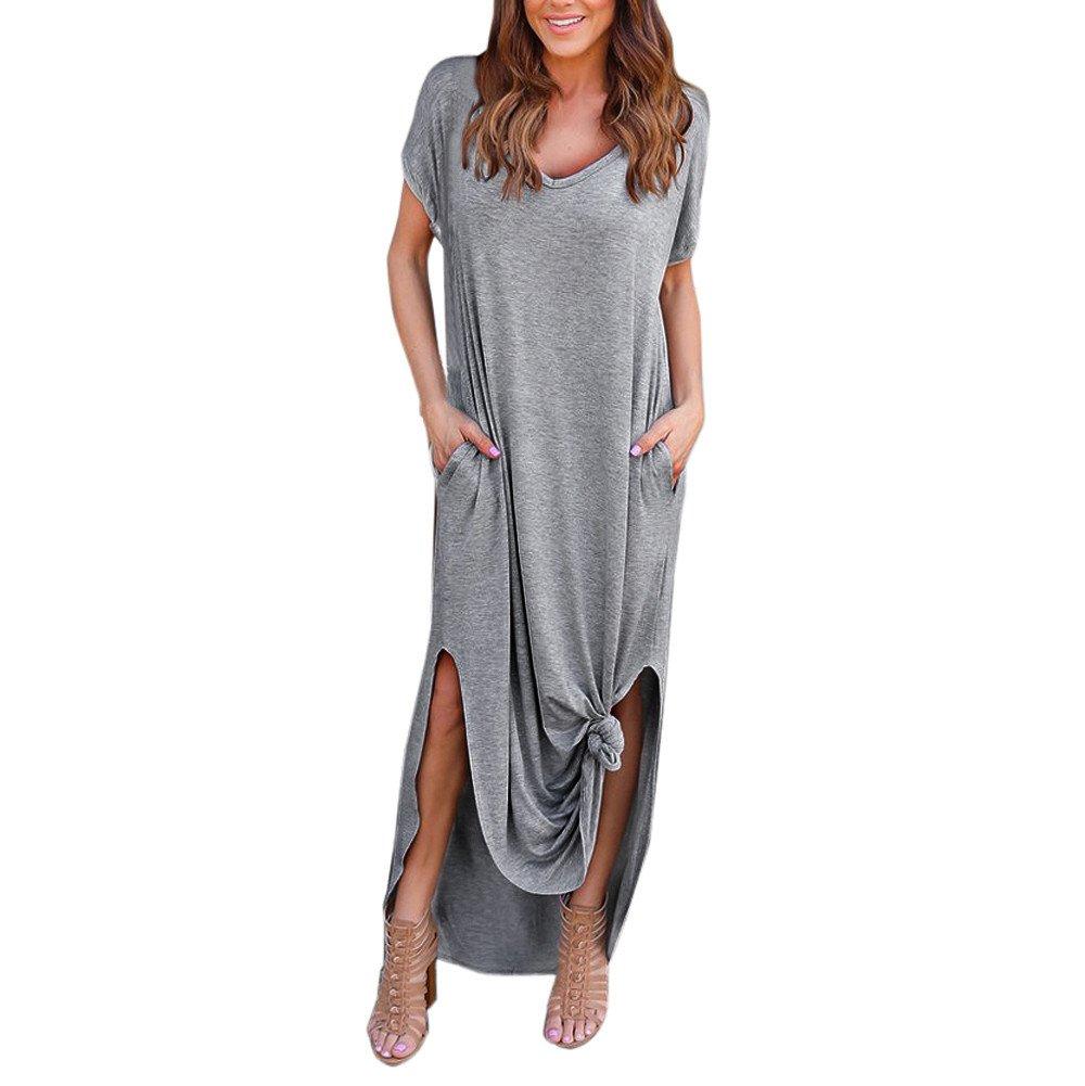 JESPER Womens Casual Loose Summer Beach Gallus Short Sleeves Pocket Long Maxi Dress Grey