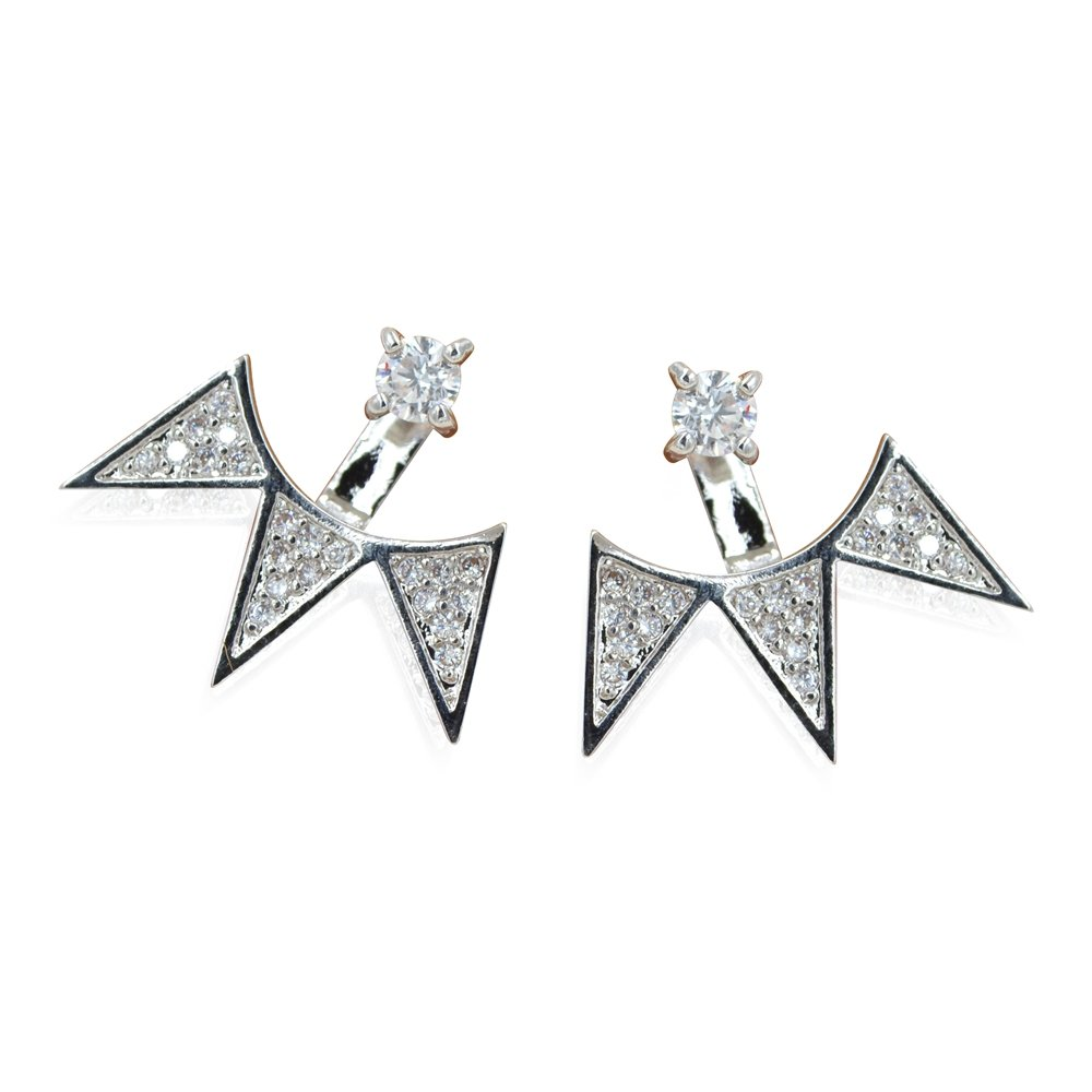 Silver Spike Fan Chic Statement Stud Jacket Back to Front 2 In 1 Earrings