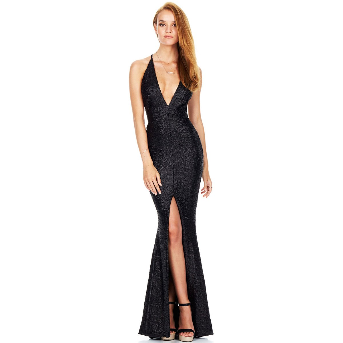 7ada93d09d37 IBTOM CASTLE Women Deep V-Neck Sequin Split Bodycon Cocktail Party Maxi  Dress Mermaid Gown Dance Tight Long Skirt at Amazon Women s Clothing store