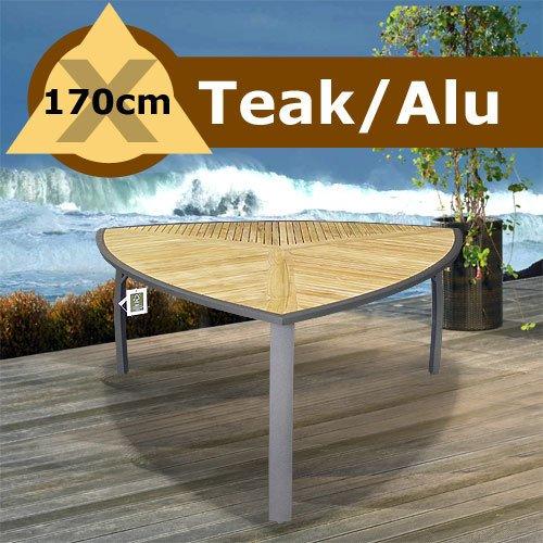 Amazon De Gartentisch Dreieckig Teak Aluminium 170x170cm